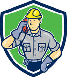 Telephone Repairman Phone Shield Cartoon Royalty Free Stock Photos