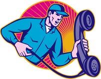 Telephone Repairman Worker Holding Retro Phone Royalty Free Stock Images