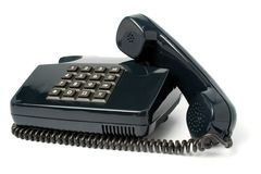Telephone set of black color Stock Photos