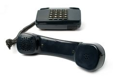 Telephone set of black color Royalty Free Stock Image