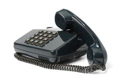 Telephone set of black color Stock Image