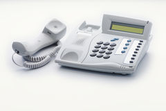 Telephone set of offhook milk white color Stock Image