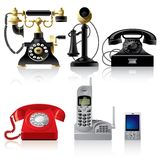Telephone sets. Raster version of vector telephone sets of different epoch (contain the Clipping Path of all objects) There is in addition a vector format (EPS 8 stock illustration