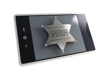 Telephone the sheriff's badge Stock Photo