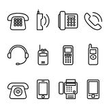 Telephone , Smart phone , fax icon set in thin line style Royalty Free Stock Image