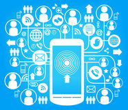 Telephone social network blue Royalty Free Stock Images