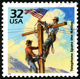 Telephone Spans the Nation US Postage Stamp Royalty Free Stock Photography