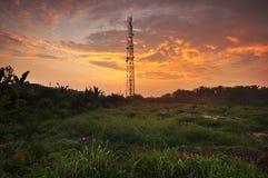 Telephone substation with sunset. Malaysia Stock Photography