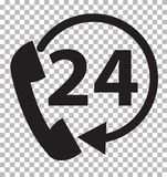 Telephone support 24 hours on transparent background. Telephone service sign. flat style Royalty Free Stock Image