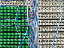 Telephone switchboard panel and wires Royalty Free Stock Images