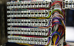 Telephone switchboard panel and wiring Royalty Free Stock Image