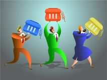 Telephone team. Team of office workers carrying telephones - conceptual illustration Royalty Free Stock Image