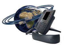 Telephone technology. Voice over IP technology concept against white Stock Photos