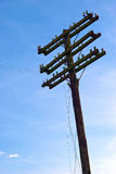 Telephone or telegraph pole. A tall, abandoned telephone or telegraph pole with several cross arms for supporting wires Royalty Free Stock Photo