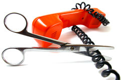 The Telephone tube and scissors. Royalty Free Stock Photography