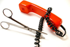 The Telephone tube and scissors. Stock Photography