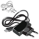 Telephone usb compact charger in black color Royalty Free Stock Image