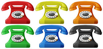 Telephone. Vintage telephone in six different colors Stock Photos