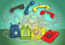 Telephone Wire Maze Game. Answer: 1-red; 2-green; 3-blue; 4-yell Stock Images