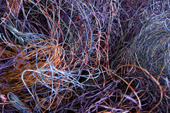 Telephone wires. Gathered for recycling. There is plastic and copper to recover stock image