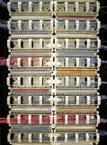 Telephone wiring. 110 Blocks (Punchdown Rack) for telephone wiring royalty free stock photo