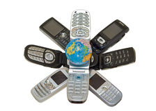 Telephones and globe 1 Royalty Free Stock Images