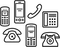 Telephones, mobile phones � Vector illustration Stock Photography