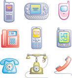 Telephones, mobile phones and devices (Vector) Stock Photos