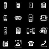 Telephones, mobile phones and devices vector icon Royalty Free Stock Images