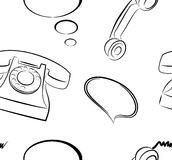 Telephones Seamless Pattern Background. Background from old fashioned telephone, telephone receiver, speech bubbles Stock Photos