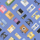 Telephones vector icons sealess pattern  Royalty Free Stock Photos