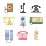 Telephones vintage vector icons. Royalty Free Stock Images