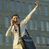Telephoning businesswoman Stock Photo