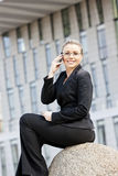 Telephoning businesswoman. Smiling and telephoning young businesswoman Royalty Free Stock Images