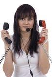 Telephonist ocupado Fotografia de Stock Royalty Free