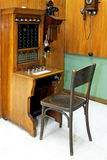 Telephonist workplace. Vintage style telephonist workplace with communication desk Stock Images