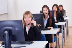 Telephonists in a call centre Stock Photos