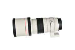 Telephoto camera lens. Telephoto camera lens isolated on white background Stock Photos