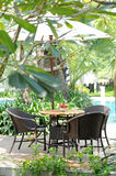 A telephoto of Garden table and chairs Royalty Free Stock Photo
