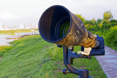 Telephoto lens. 800mm telephoto lens in the park Stock Photography