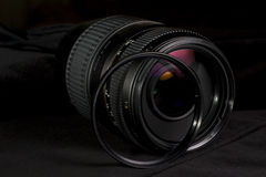 Telephoto lens aperture close up with UV filter. Stock Images