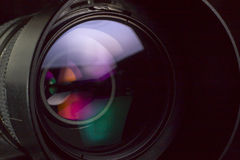 Telephoto lens aperture with nice reflections. Stock Images