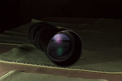 Telephoto lens aperture with nice reflections Stock Photo