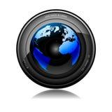 Telephoto lens camera. Illustration of camera lens with reflecting globe on a white background Stock Image
