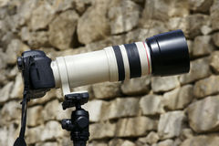 Telephoto lens and camera Stock Photo
