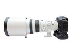 Telephoto lens on camera Royalty Free Stock Photo