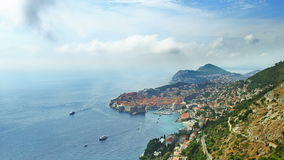 Telephoto lens panorama of Dubrovnik old town. Stock Image