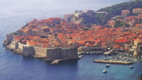 Telephoto lens panorama of Dubrovnik old town. stock video