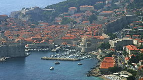 Telephoto lens panorama of Dubrovnik old town. Royalty Free Stock Photos