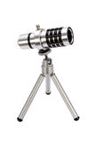 Telephoto lens for  smartphone on a tripod Royalty Free Stock Photography